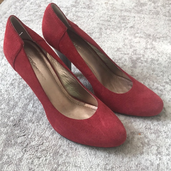 Ladies BCBG red suede pumps